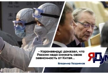 Владимир Поздняков: Коронавирус доказал, что России надо снижать свою зависимость от Китая.